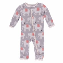 Kickee Pants India  Print Muffin Ruffle Coverall  Feather Indian Elephant