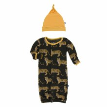 Kickee Pants India  Print Layette Cown Converter & Hat Set Zebra Tiger