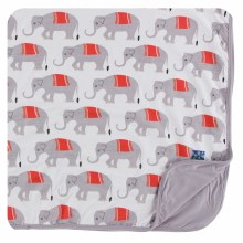 Kickee Pants India  Print Toddler Blanket  Natural Indian Elephant