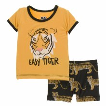 Kickee Pants India  Short Sleeve Pajamas with Shorts  Zebra Tiger