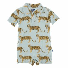 Kickee Pants India  Short Sleeve Polo Romper Spring Sky Tiger