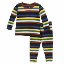 Kickee Pants London Pajamas in Dark London Stripe 2T