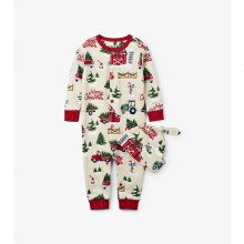 Little Blue House Coverall & Hat Set Country Christmas 3-6m