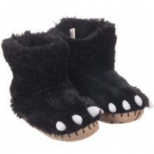Little Blue House Fuzzy Slouch Slippers - Black Bear Paws