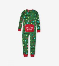 Little Blue House Holiday Union Suit - Green Northern Lights