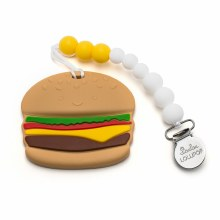 Loulou Lollipop Cheeseburger Silicone Teether With Clip