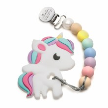 Loulou Lollipop Rainbow Unicorn Silicone Teether With Clip
