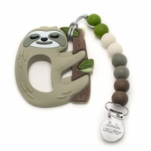 Loulou Lollipop Sloth Silicone Teether With Clip