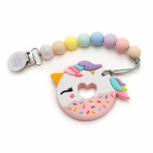 Loulou Lollipop Unicorn Donut Silicone Teether With Clip