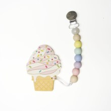 Loulou Lollipop Chocolate Ice Cream Silicone Teether With Clip