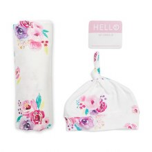 Lulujo Hello World Swaddle & Hat Set - Posies