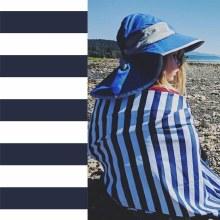 Luv Bug Sunscreen Towel W/Hood- Navy Stripes