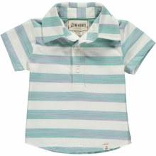 Me & Henry Green & White Striped Polo Shirt