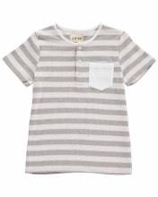 Me & Henry Grey Stripe Woven T-Shirt