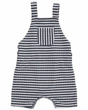 Me & Henry Navy Striped Shortie Overall 3-6m