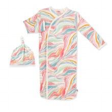 Magnetic Me Modal Newborn Gown & Hat Set Twirls & Swirls