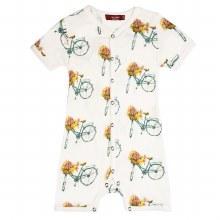 Milkbarn Bamboo Shortall Floral Bicycle 3-6m