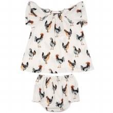 Milkbarn Organic Cotton Dress and Bloomer Set in Chicken