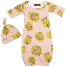 Milkbarn Newborn Gown & Hat Set Artichoke