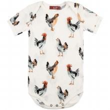 Milkbarn Organic Cotton Short Sleeve One Piece in Chicken