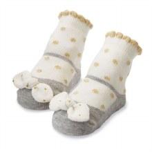 MudPie Gold Dot Bow Socks