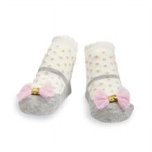 MudPie Grey Mesh Bow Socks
