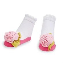 MudPie Pink Jersey Flower Socks