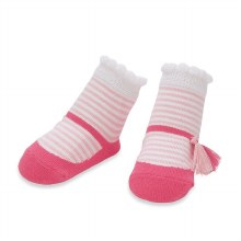 MudPie Pink Stripe Tassle Socks