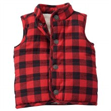 MudPie Red Buffalo Check Vest Small