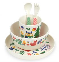 Petit Collage Bamboo Dish Set Forest