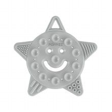Poppies Smiley Star Teether Cool Grey