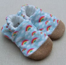 Snow and Arrow Organic Cotton Slippers Blue Rainbow