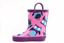 Timbee Purple Owls Rubber Rain Boots