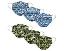 Disposable Kids Masks 6-Pack Shark Frenzy/Dino Camo