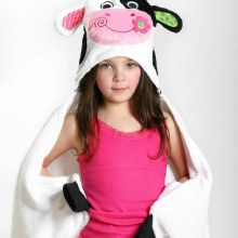 Zoochini Kid's Hooded Towel Casey the Cow