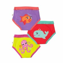 Zoochini Organic Potty Training Pants 3 Pack Ocrean Friends 3-4T