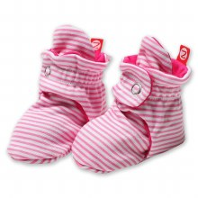 Zutano Candy Stripe Cotton Booties in Hot Pink