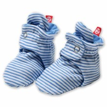 Zutano Candy Stripe Cotton Booties in Periwinkle