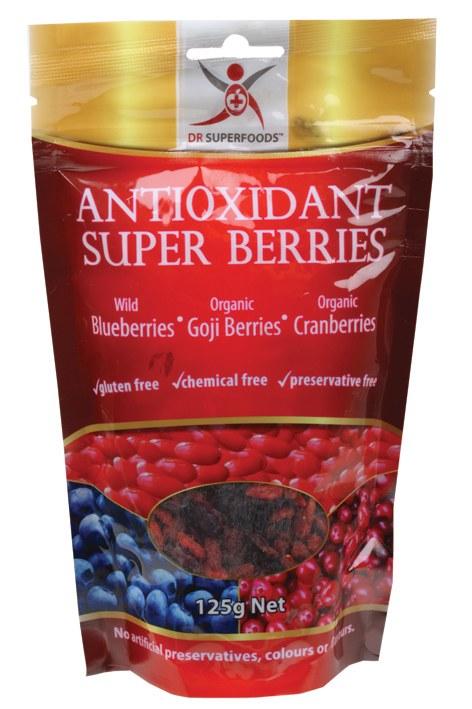 Antioxidant Super Berries Blueberries, Cranberries & Goji 125gm