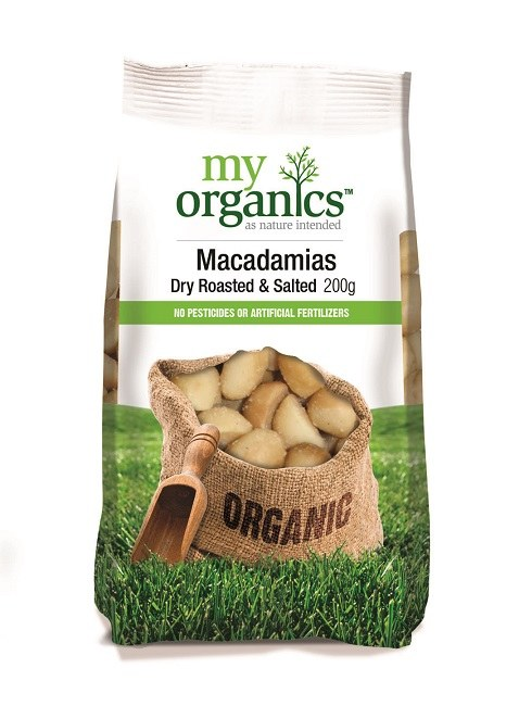 Organic Roasted & Salted Macadamia Nuts 200gm