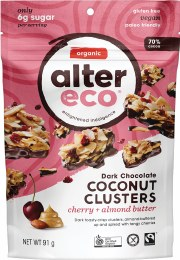 Dark Chocolate Coconut Clusters Cherry + Almond Butter 91gm