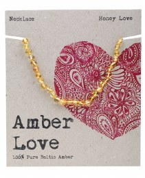 Children's Necklace Baltic Amber - Honey Love 33cm