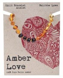 Children's Bracelet/Anklet Baltic Amber - Rainbow Love 14cm