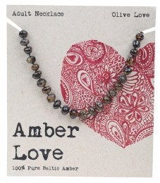 Adult's Necklace Baltic Amber - Olive Love 46cm