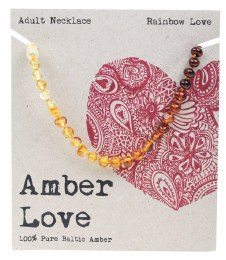 Adult's Necklace Baltic Amber - Rainbow Love 46cm