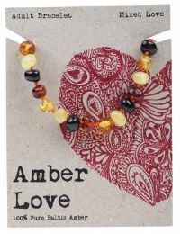 Adult's Bracelet Baltic Amber - Mixed Love 20cm