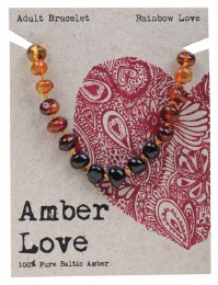 Adult's Bracelet Baltic Amber - Rainbow Love 20cm
