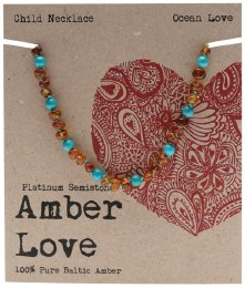 Children's Necklace Baltic Amber - Ocean Love 33cm