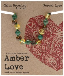Children's Bracelet/Anklet Baltic Amber - Forest Love 14cm