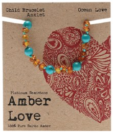 Children's Bracelet/Anklet Baltic Amber - Ocean Love 14cm